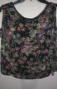 Alex Black Velvet Floral Bling  Evening Top 3X Pl